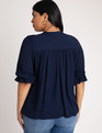 Bow Blouse with Puff Sleeve Dress Blues