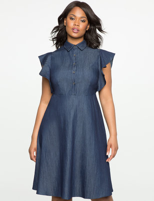 Flutter Sleeve Fit and Flare Denim Dress