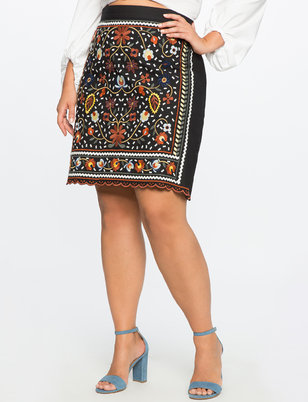 Studio Embroidered Pencil Skirt