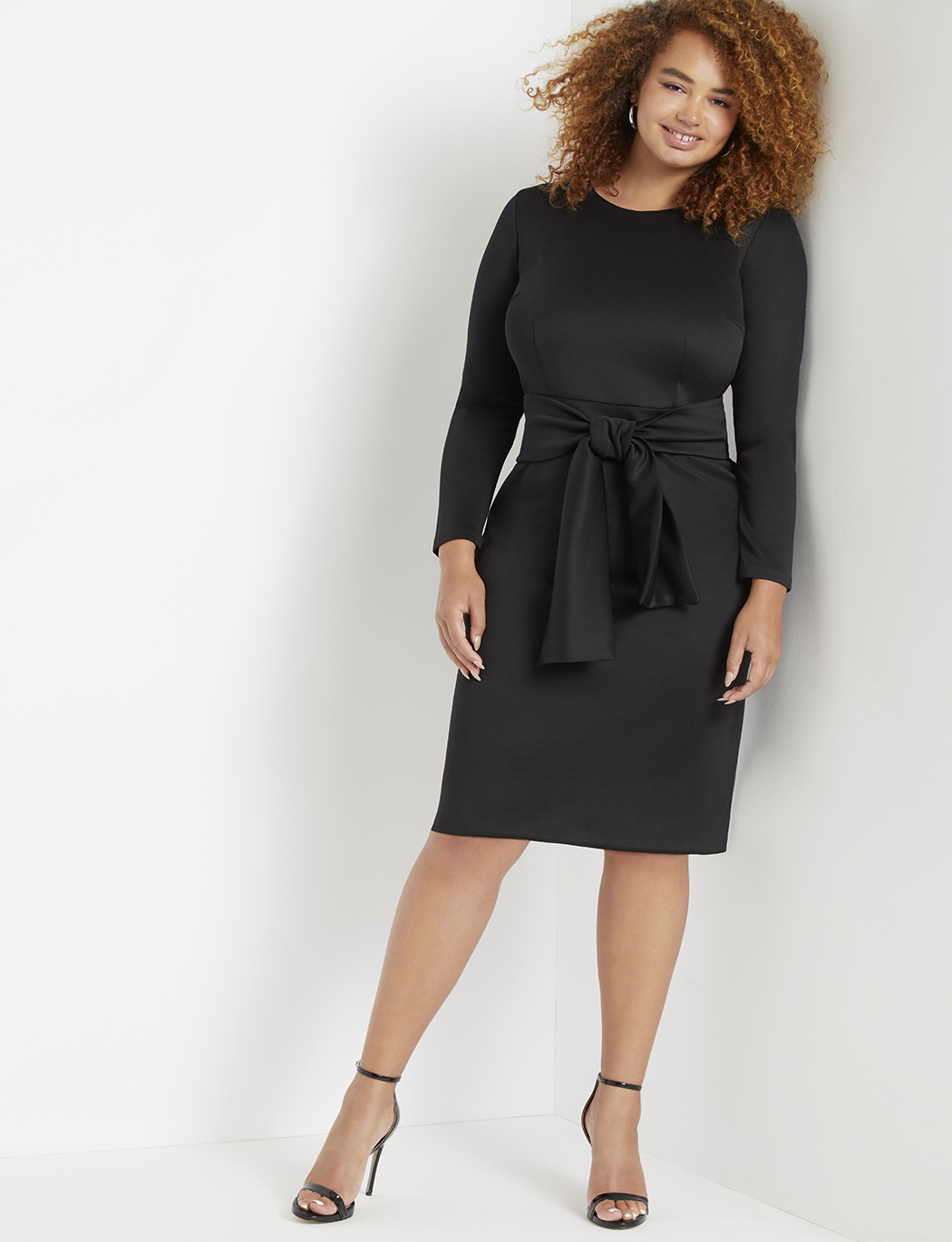 2a4da4467 Long Sleeve Scuba Dress with Tie | Women's Plus Size Dresses ...