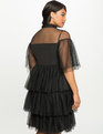Studio Ruffled Tiered Tulle Dress Black