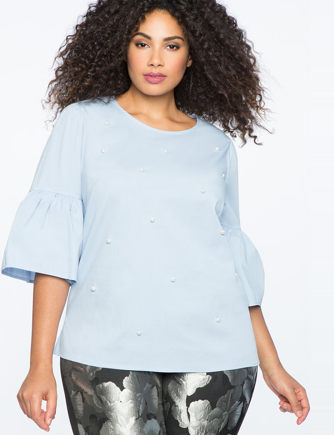 Pearl Detail Flare Sleeve Top