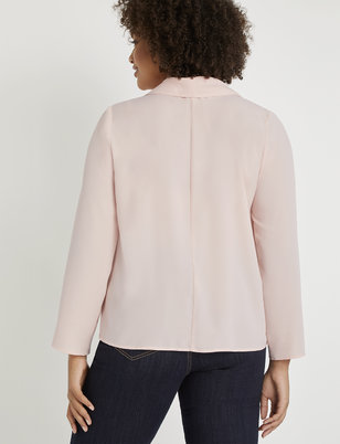 Long Sleeve Shawl Collar Blouse