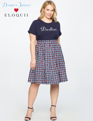 Draper James for ELOQUII Pleated Midi Skirt