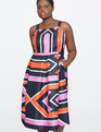 Printed Geometric Fit & Flare Dress Hip To Be Square