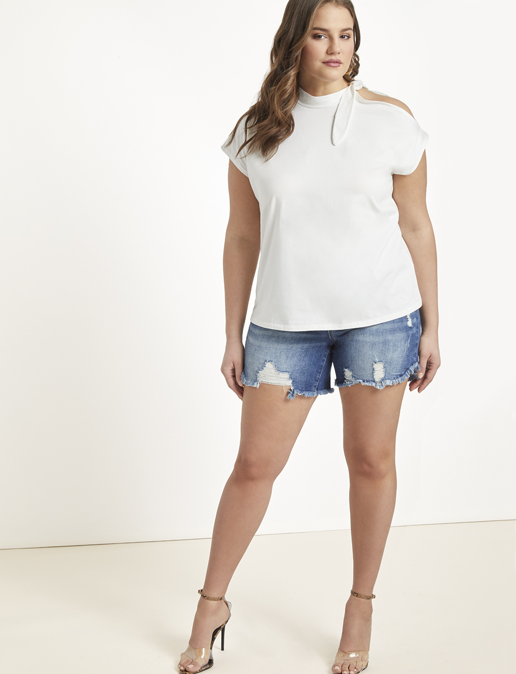 Tie Neck Open Shoulder Tee