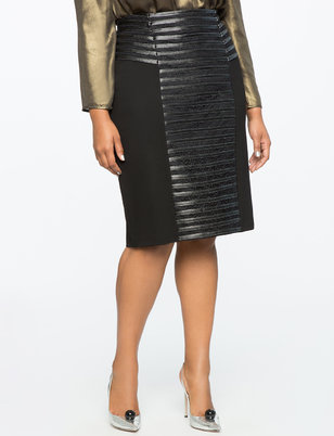 Faux Leather Detail Pencil Skirt