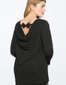Cowl Back Bow Tee BLACK
