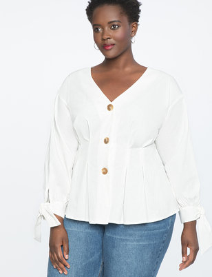 Pleated Front Puff Sleeve Top