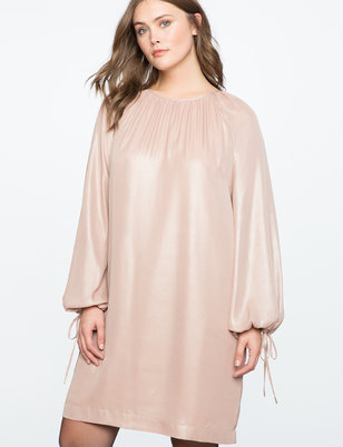 Long Sleeve Foil Shine Dress