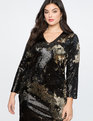 Long Sleeve Sequin Sheath Black and Gold