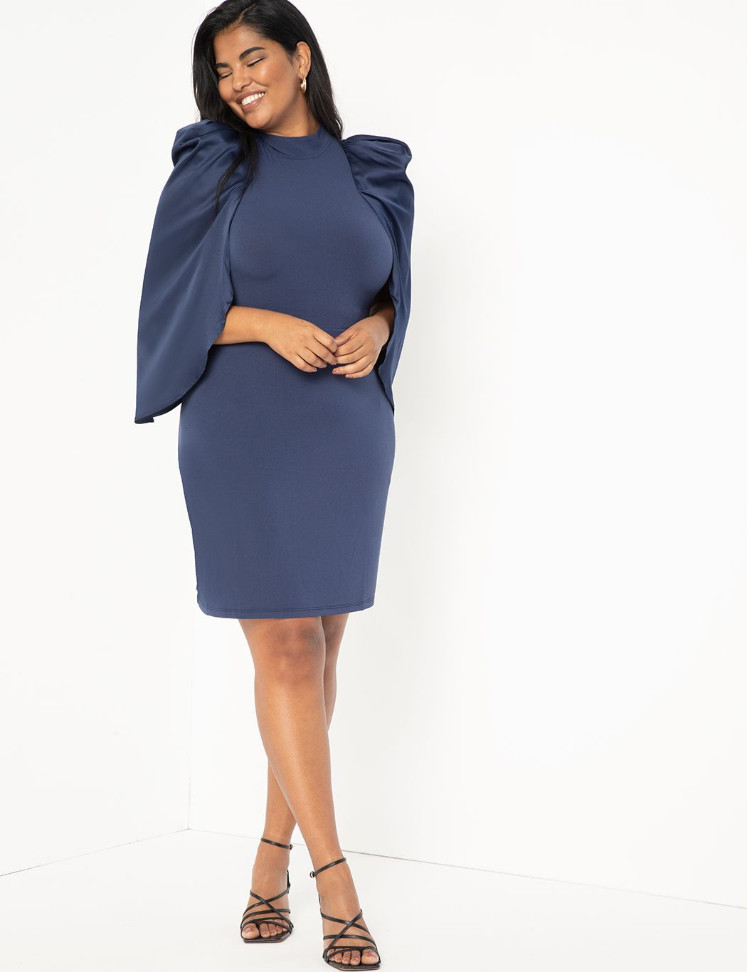 Satin Sleeve Fitted Dress