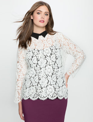 Studio Contrast Collared Lace Blouse