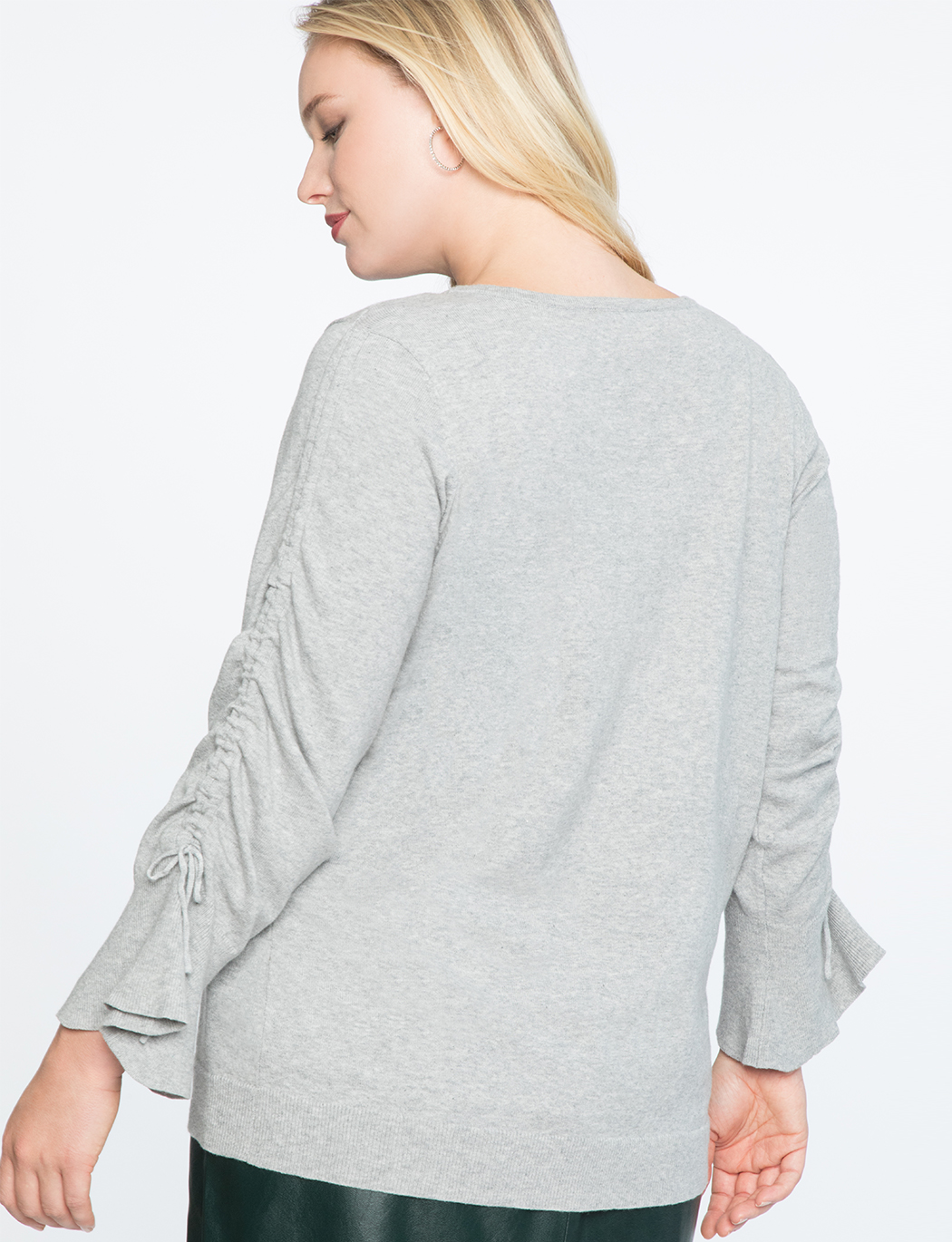 Ruched Tie Sleeve Sweater