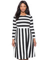 Opposing Stripes Fit and Flare Dress Black + White Stripe