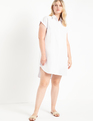 Easy Stepped Hem Shirtdress White