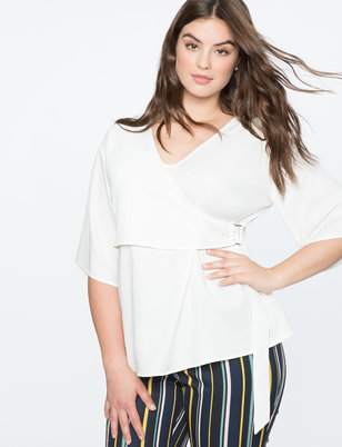 Faux Wrap Top With Buckle