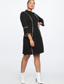 Flare Sleeve A-Line Dress Black with White Piping