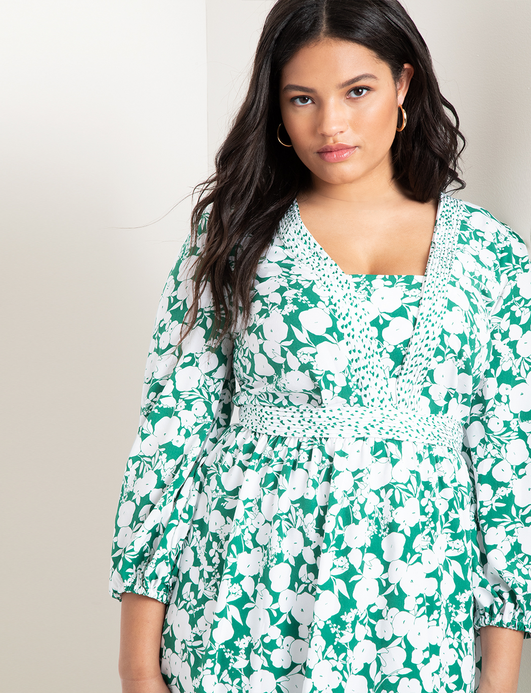 Long Sleeve Mixed Print Dress