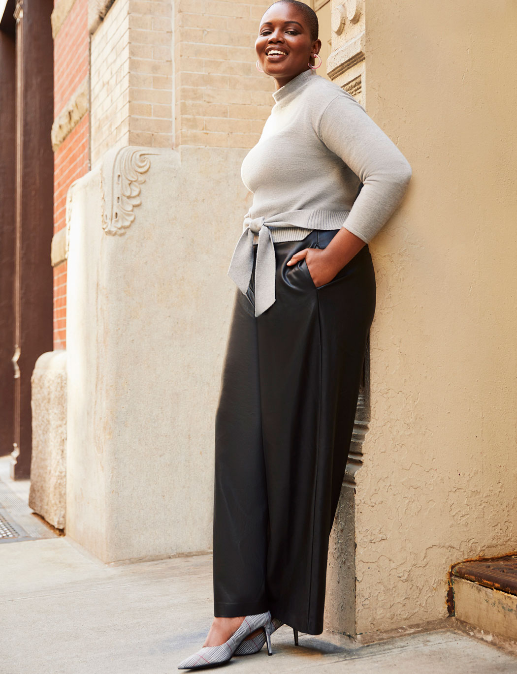 Faux Leather Wide Leg Pant