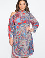 Asymmetrical Cold Shoulder Dress Dancing Critters Print