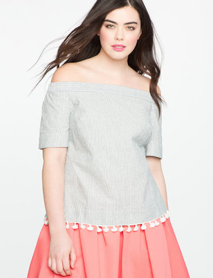 Off the Shoulder Oxford Shirt