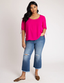 Tie Sleeve Top Hot Pink