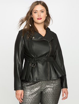 Cinched Waist Faux Leather Jacket