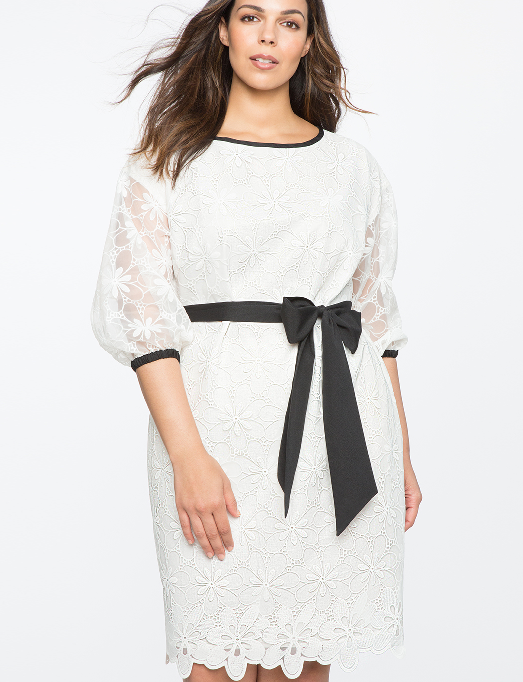 Floral Lace Dress with Contrast Piping | Women\'s Plus Size Dresses | ELOQUII