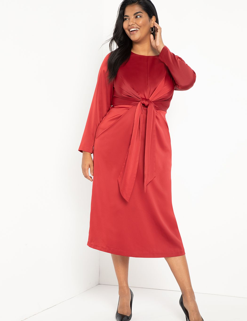 Twist Front Satin Midi Dress