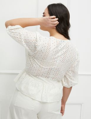 ELOQUII Elements Eyelet Peplum Top
