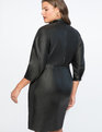 Tie Neck Faux Leather Dress Totally Black