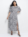 Dolman Sleeve Maxi Dress with Slit Dalmation Dot