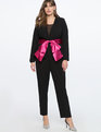 Peplum Blazer With Satin Bow Totally Black + Pink Peacock