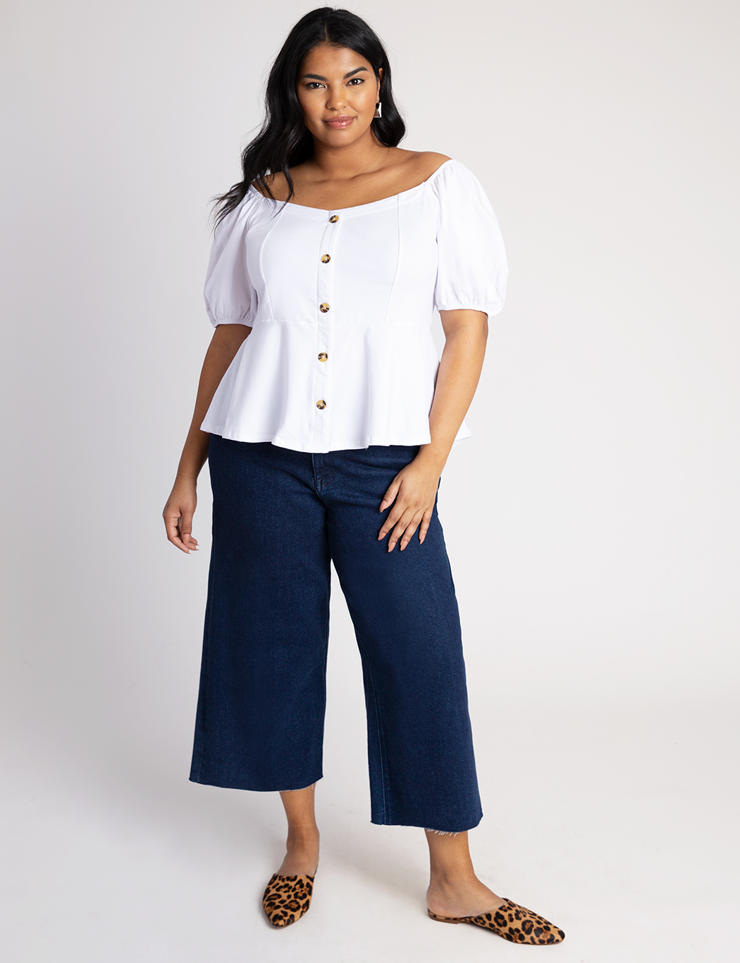 Button Front Puff Sleeve Tee