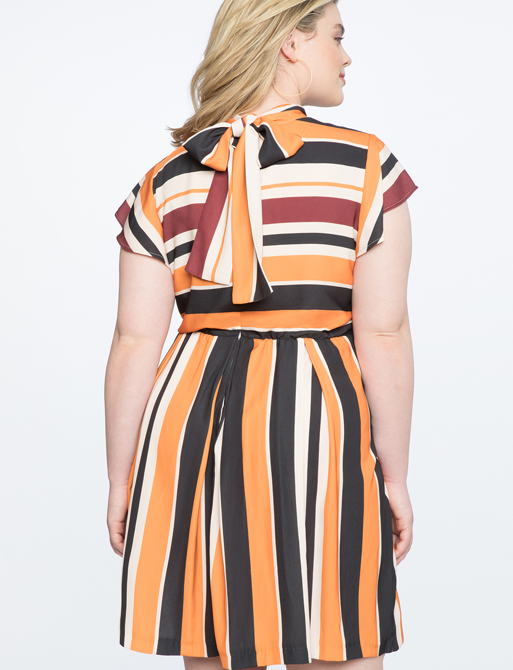 Opposing Stripes Tie Back Dress