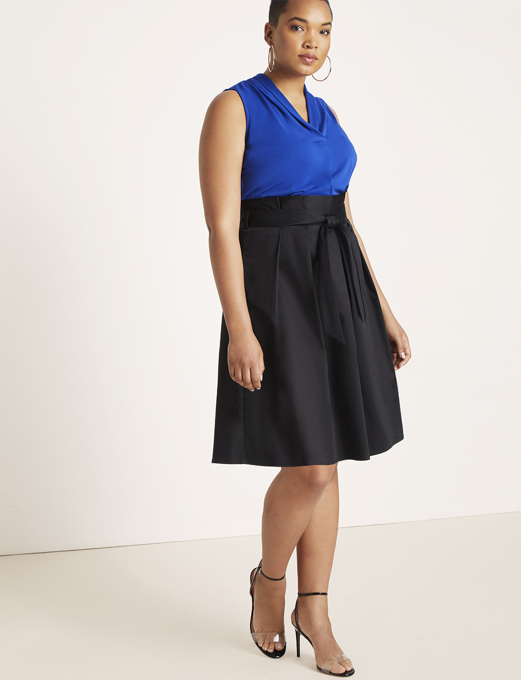 Pleated Skirt with Self Tie Belt