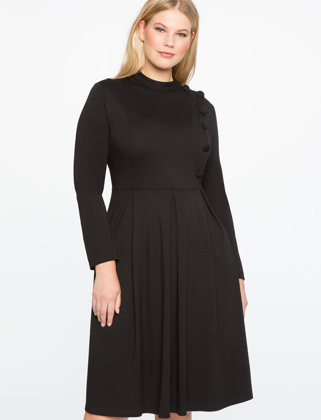 Button Front Mock Neck Fit And Flare Dress Womens Plus Size