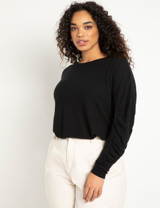 Drop Shoulder Top with Sleeve Detail
