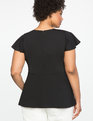 Pleated Neckline Peplum Top Totally Black