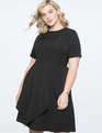 Short Sleeve Dress with Skirt Overlay Black