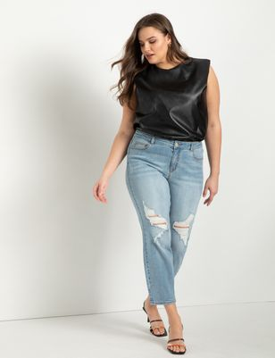 Classic Fit Distressed Boyfriend Jean