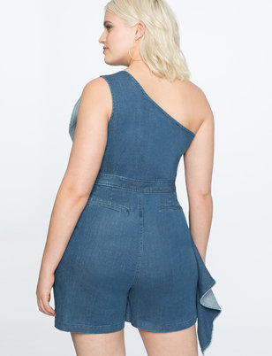 Denim Romper with Asymmetrical Ruffle