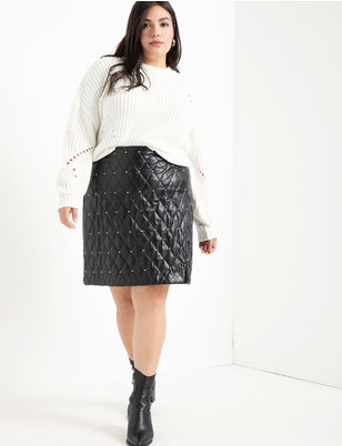 Quilted Faux Leather Skirt With Studs