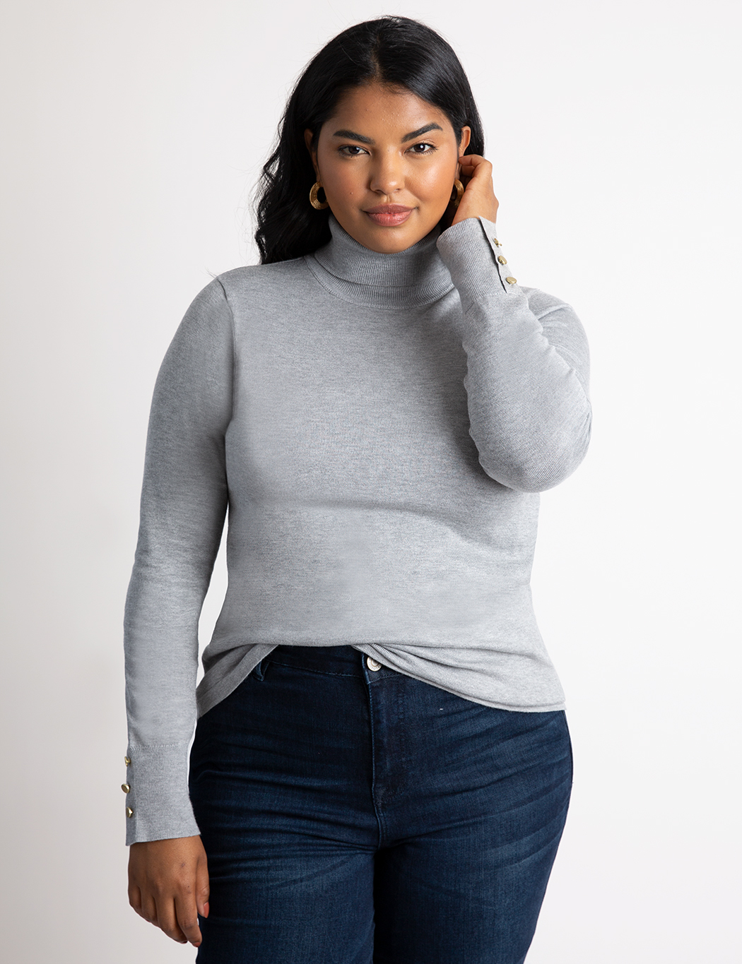 Button Cuff Turtleneck Sweater