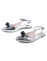 Estella Ball Ankle Flat Silver Mirror with Black Ball
