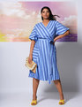 Striped Kimono Sleeve Tie Waist Dress Bright Cobalt and Allure Stripe