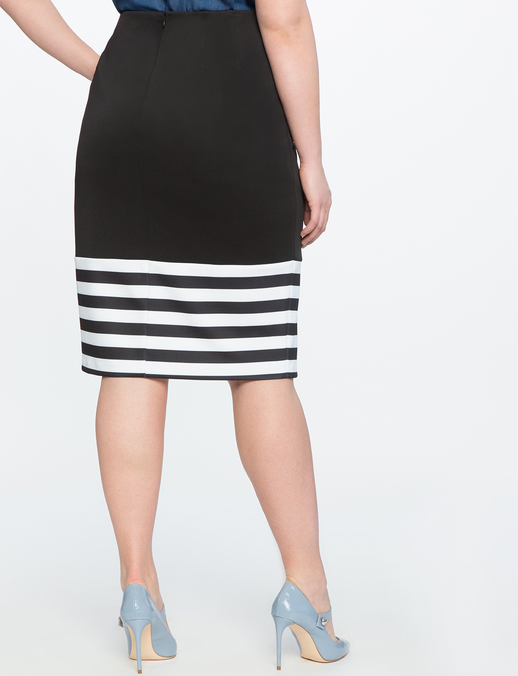 Contrast Striped Pencil Skirt