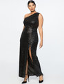 Jason Wu X ELOQUII One Shoulder Sequin Gown Shiny Black
