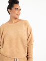 Slouchy Off the Shoulder Top Tan